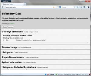 "about:telemetry ""Slow SQL Statements"" section"